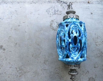 Large Retro Swag Lamp Blue Drip Glaze Hanging Lamp Blue Pottery Pendant Light 70's Fat Lava Ceramic Lamp Mid Century Pendant Lamp Swag Lamp