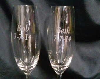 Set of Etched champagne flutes, Glasses for weddings, engraved gifts, wedding gifts, wedding glass sets
