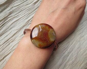 Brown Gemstone Leather Bracelet