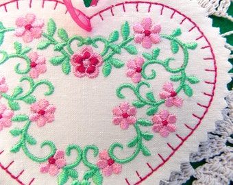 Christmas ~ Valentine ~ Wreath ~ Easter Silk Heart Ornament ~ Decoration Machine Embroidered Pink ~ Fuchsia ~ Green Floral