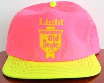 Hot Pink Neon Baseball Cap Snap back Old Style Beer Neon Yellow and Pink Flat Rim 1990's