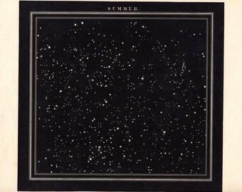 1842 Stars of Summer Constellations Stars Astronomy Print Middleton Large
