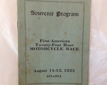 1922 Motorcycle racing program, 1st American 24 Hour Motorcycle Race Atlanta, Souvenir program, competitor list, ads, 16 pg, 1920s ephemera