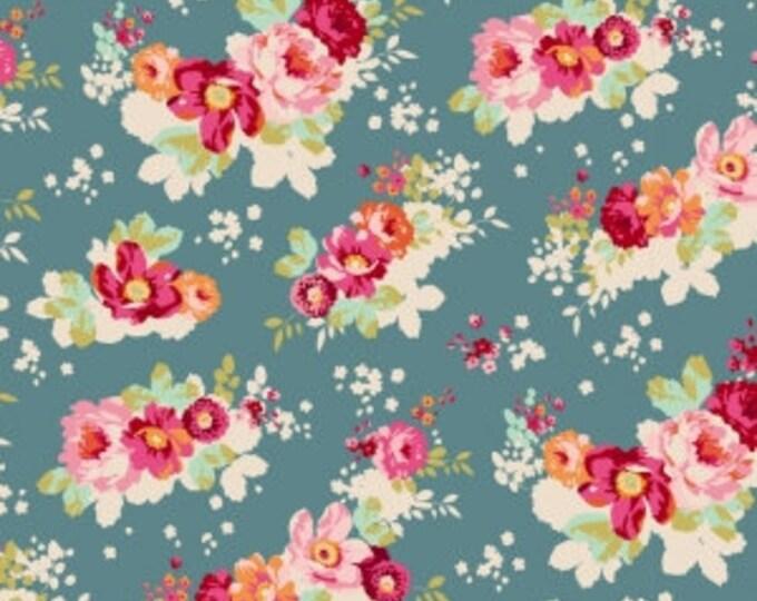 TILDA - Cabbage Rose Flowercloud Teal - 1/2 yard