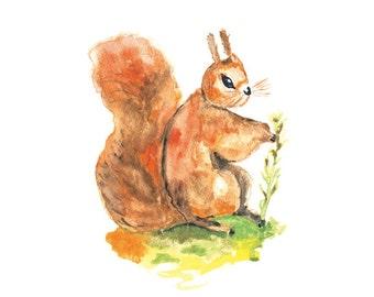 Squirrel Painting, Squirrel Art Print, Watercolor Painting, Squirrel Wall Art, Nursery Wall Decor, Watercolor Art
