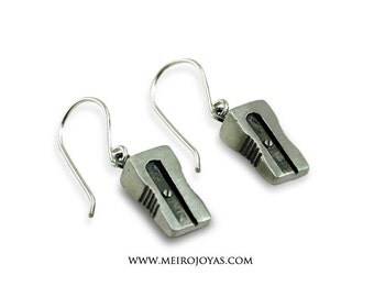 Pencil Sharpener Earrings Sterling Silver / Pendientes Sacapuntas Plata 925