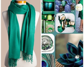 Emerald green pashmina scarf shawl / personalized initial shawl / bridesmaid shawl / wedding favor / spring summer wedding /
