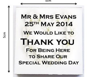 Personalised Mini Wooden Plaque. Wedding Favours. Complete with Stand.