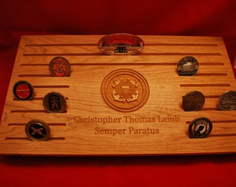 Challenge coin display.