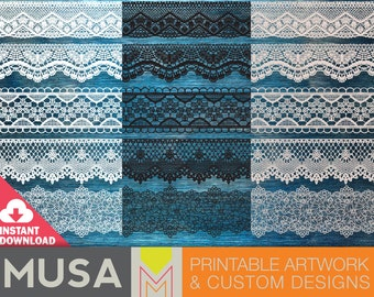 INSTANT DOWNLOAD / Lace clipart borders with transparent background