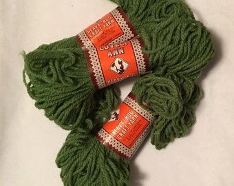 3 Skeins Lion Brand Lovely Ann Yarn Green Rug Yarn