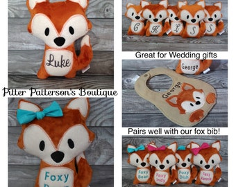 Personalized Fox, Fox soft stuffed animal, Fox stuffie, monogrammed stuffed animal,