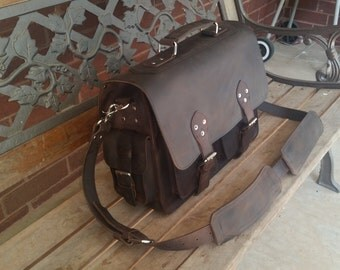 "16"" inches Rugged Leather Briefcase Satchel Messenger Laptop Bag  Large"