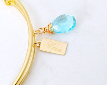 Aquamarine Bangle love tag Gemstone Bangle Aquamarine Jewelry stamped love bangle Quartz Jewelry Bridesmaid Bangles Beach march birthstone
