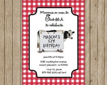 Chick fil A Inspired Birthday Invites- digital file 5x7