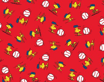 Peanuts All Star Woodstock Toss Red Fabric From Quilting Treasures