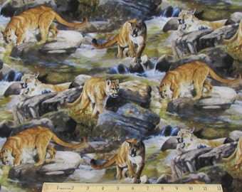 Boulder Creek Cougar Mountain Lion Fabric From Springs Creative By the Yard