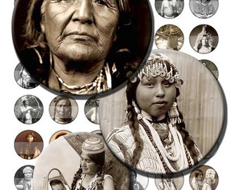 Native American Indian Vintage Digital Images Collage Sheet 1 inch Circles 8.5x11 INSTANT Download BC105