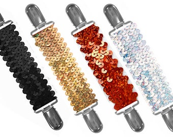 DRESS CINCH CLIP - Set of 4 Sequins in Black-Gold-Red-Silver - Gold or Silver Clips