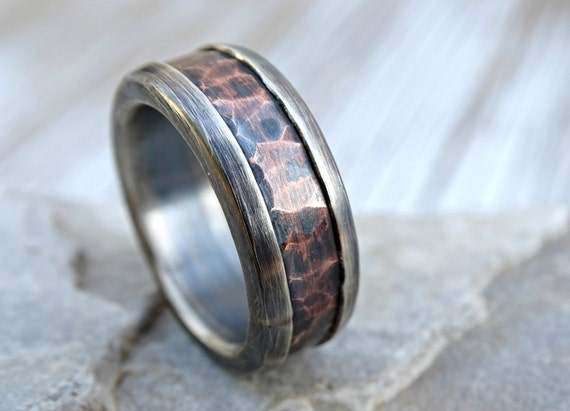 Chunky Mens Ring Copper Mens Wedding Band Bold Forged Silver
