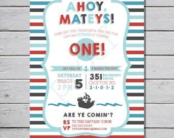 Ahoy, Matey! Nautical/Sailor Birthday Party Invitation {INSTANT Digital Download}