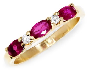 Ruby Anniversary Wedding Band with Diamonds in 14kt Yellow Gold .60ctw