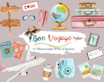 Travel Clipart Watercolor Vacation Summer Holiday Luggage Road World Airplane Camera Wanderlust Digital Download Invitation Paint Bon Voyage