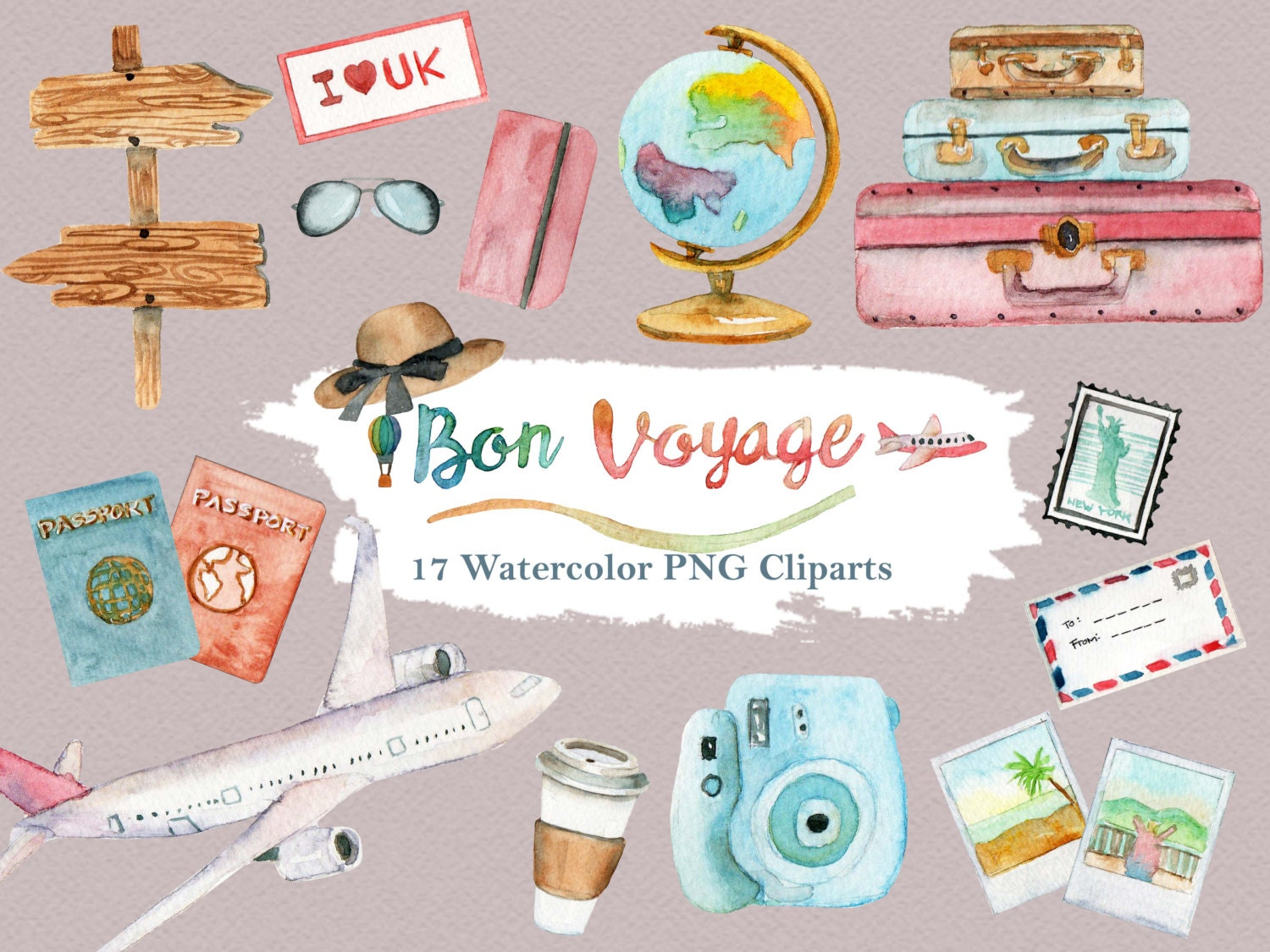 Travel Clipart Watercolor Vacation Summer Holiday Luggage Road