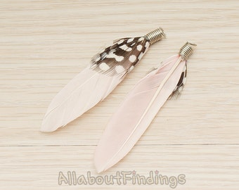 F004-PINK // Pink Colored Simple Feather Pendant, 2 Pc