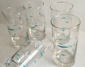 Libbey Mediterranean Atomic Turquoise Fish Glass Tumblers