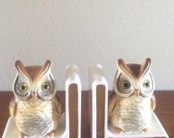 Vintage Owl Bookends Woodland Decor Office Lefton Bookshelf Owls