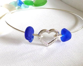 Beach Glass Bangle Bracelet Genuine Cobalt Sea Glass and Heart Garden Leaf Seaside
