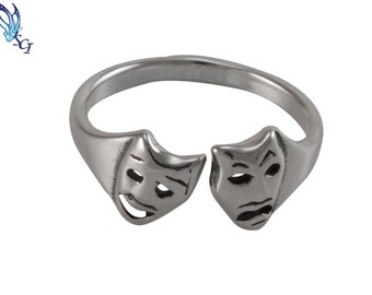 Theatre Mask Adjustable Ring Sterling Silver, Theatre Mask, Mask, Everyday Ring, Simple, Minimal Ring, Adjustable Rings, Silver Rings, SR174