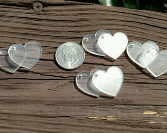 1 Inch Heart Blanks / Plastic Heart Blanks / Earring Blanks / Plastic Blanks / Plastic Supplies / Hearts / Circle Blanks