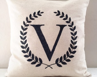 Monogram Laurel Wreath Farmhouse Pillow