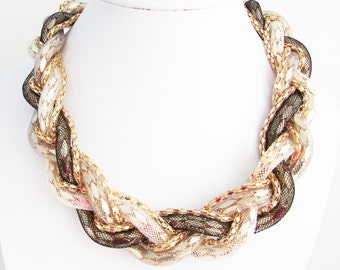 Plaited Fabric and Chain Necklace, Chocolate Brown, Champagne and Gold Necklace, Braided Necklace, Fabric Necklace, Gold Plait Necklace