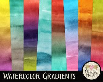 Watercolor Digital Paper Pack - Watercolor Gradient Digital Scrapbook Paper - Watercolor Background Textures