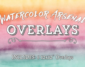Watercolor Overlays Clipart - Photo & Digital Design Overlays - Photography Overlays - Water Color Paint Overlays