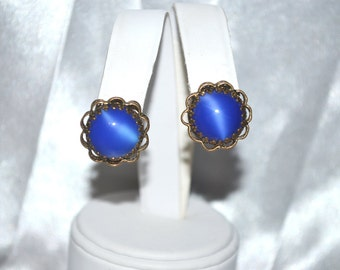 Vintage Blue Art Glass Earrings