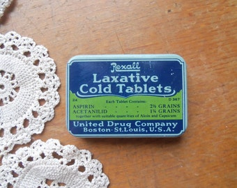 Vintage Rexall Laxative Cold Tablets Tin