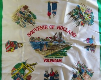 Dutch Scarf//Souvenir of Holland//Vintage Scarf//Volendam Scarf