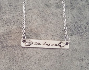 Hand Stamped Jewelry-Personalized necklace-Hand Stamped Pewter Split Arrow Bar Necklace-Be Still-Be Brave