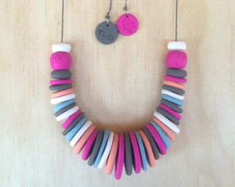 Handmade Maxi Disc Polymer Clay Necklace - Pavlova
