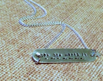 Rectangle with rounded edges...Name plate...customized with your saying...handstamped necklace...Customized to YOU