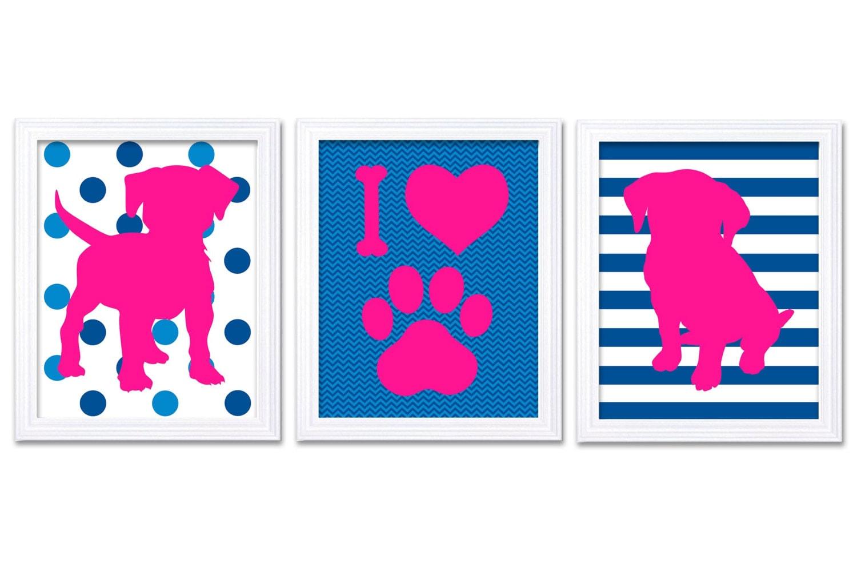 Puppy Dog Nursery Art Puppy Prints Set of 3 Prints Hot Pink Blue Stripes Chevron Polka Dots Baby Wal