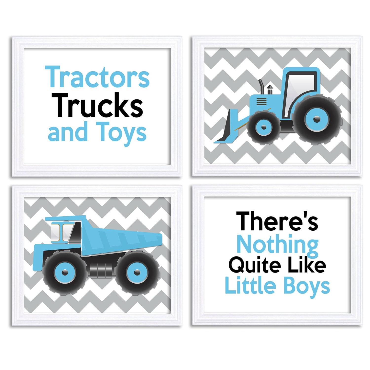 Black Baby Blue Tractor Truck Little Boys Transportation Construction Vehicle Heavy Machinery Set of