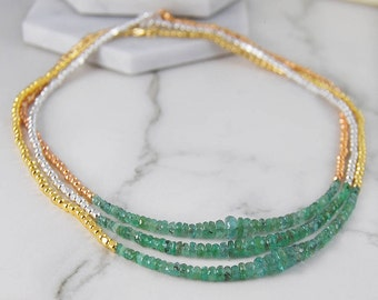 Green Emerald Necklace, Gemstone Necklace, Green Necklace, Gold Jewelry, Silver Necklace, Layered Necklace, Birthstone Necklace, Necklaces