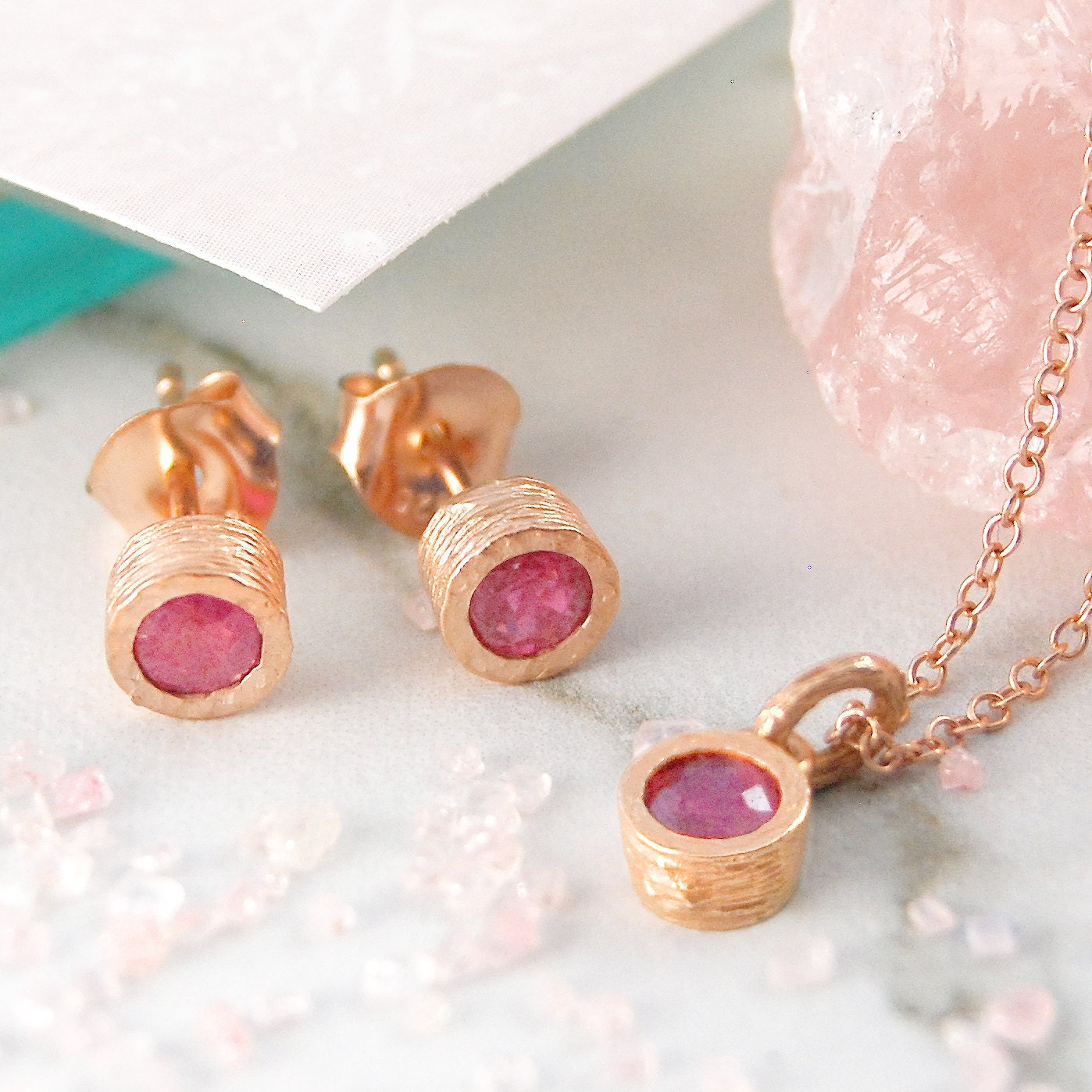 ruby jewelry set rose gold jewelry set red gemstone. Black Bedroom Furniture Sets. Home Design Ideas