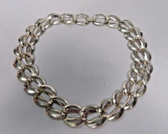 Choker Large Link Chain Silvertone Necklace Vintage