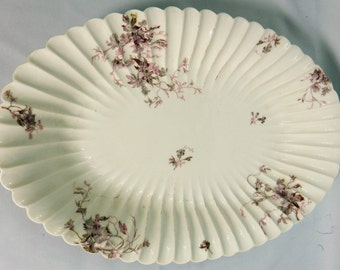 Antique Haviland Co Limoges Serving Platter 19 inch Pink Floral 1880s